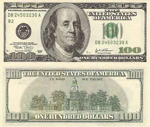 Money Picture 100 Us Dollars
