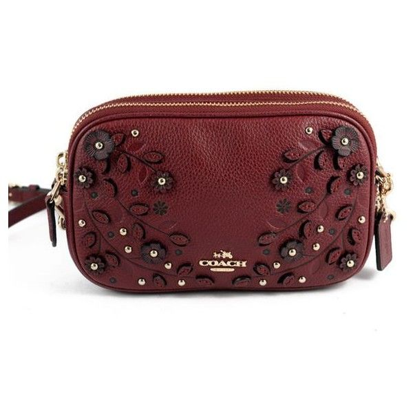 Pre-Owned Coach Wine Leather Floral Applique Cross Body Bag ($135) ❤ liked on Polyvore featuring bags, handbags, shoulder bags, red, leather shoulder handbags, shoulder strap bags, coach crossbody, cross-body handbag and leather crossbody handbags