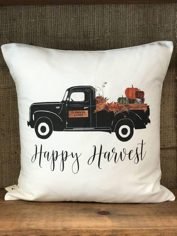 """Pumpkin Patch Vintage Truck Throw Pillow 17"""" x 17"""" Harvest Pillows USA"""