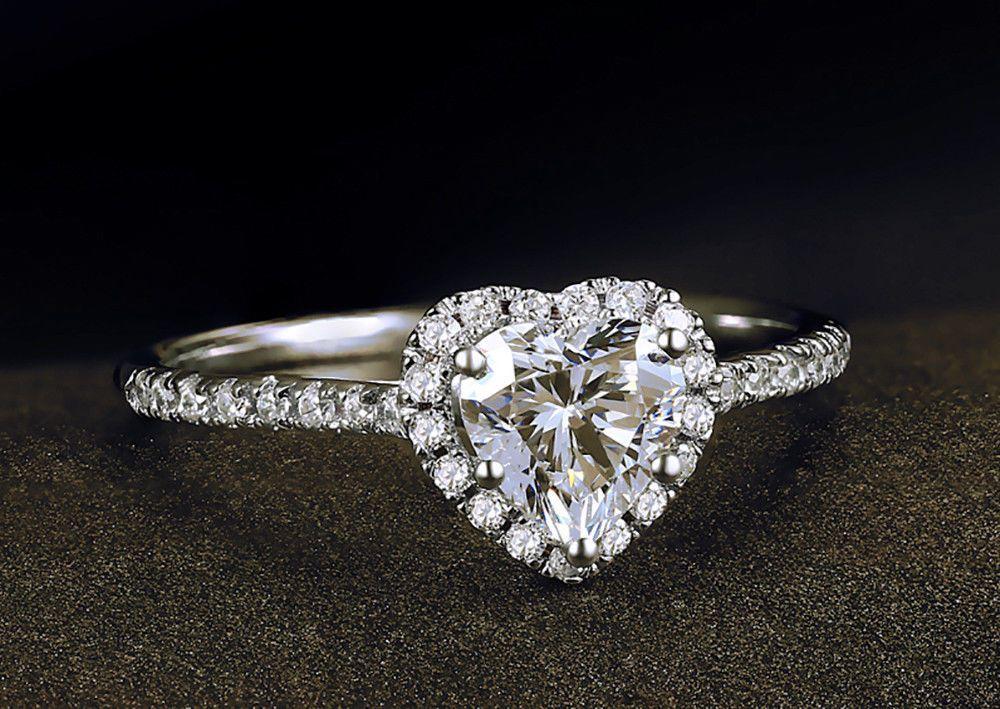 0468d167fedb8 Ring Engagement Heart Gold 14k White Diamond Wedding 1 ct Solitaire Promise  VS1  68.88  jewelry  diamond  ring