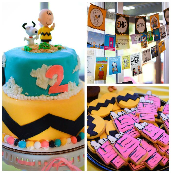 Chic Charlie Brown Snoopy Themed Birthday Party