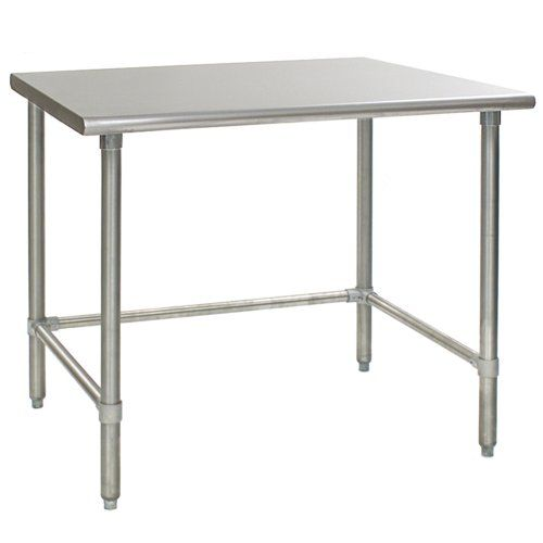 """$568 - Flattop Stainless Steel Work Table with Stainless Steel Tubular Base, 24 x 72"""" Eagle Group -allows for counter stools under"""