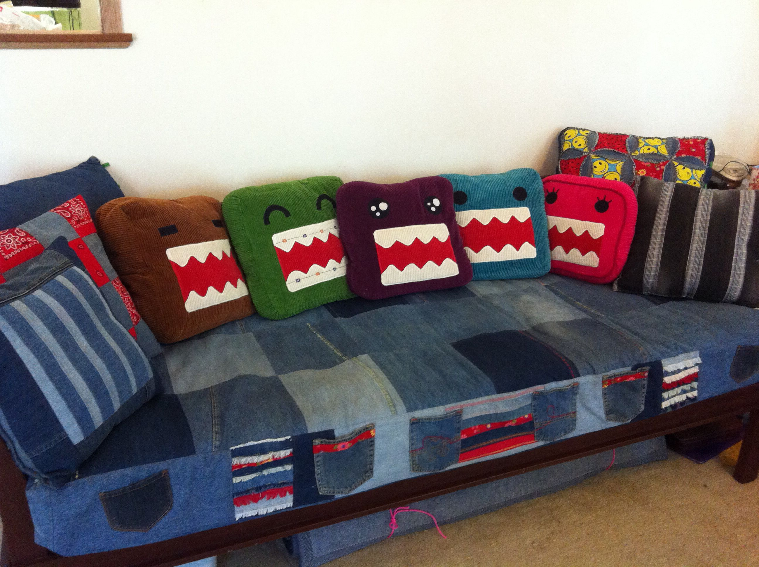 Up Cycled Denim Jean Sofa Cover And Domo Pillows Denim Furniture Sofa Covers Furniture