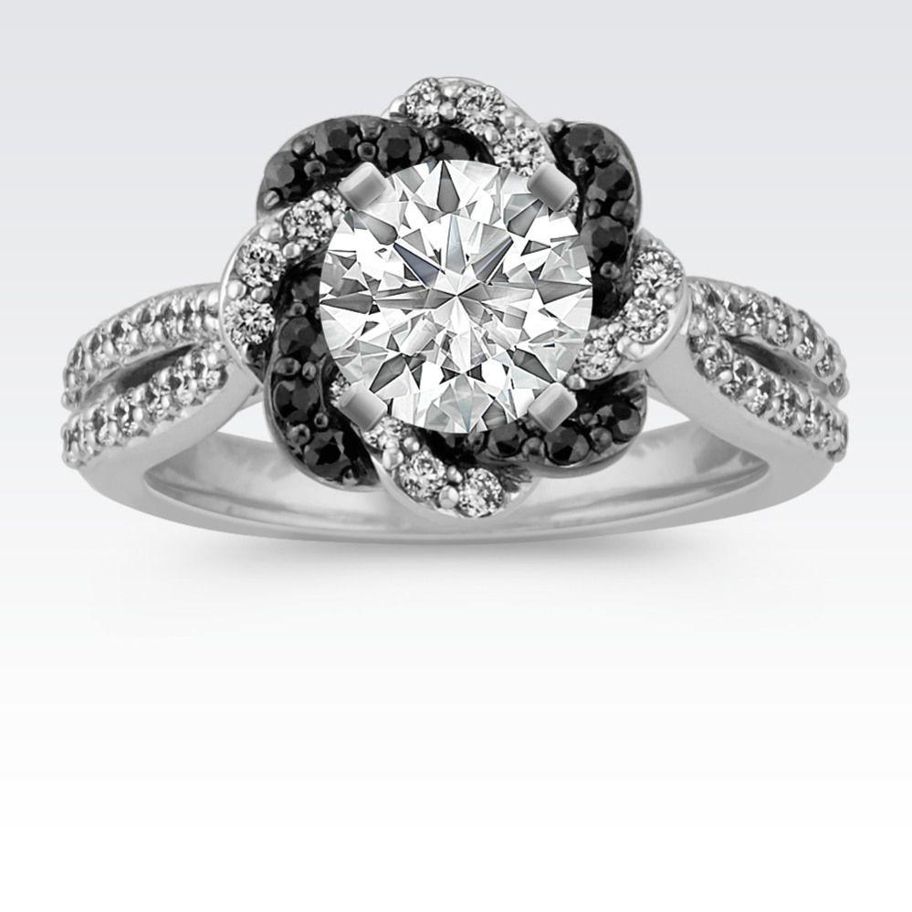 Black Sapphire And Diamond Halo Engagement Ring Skull Wedding Ring Gemstone Diamond Engagement Rings Unique Engagement Rings