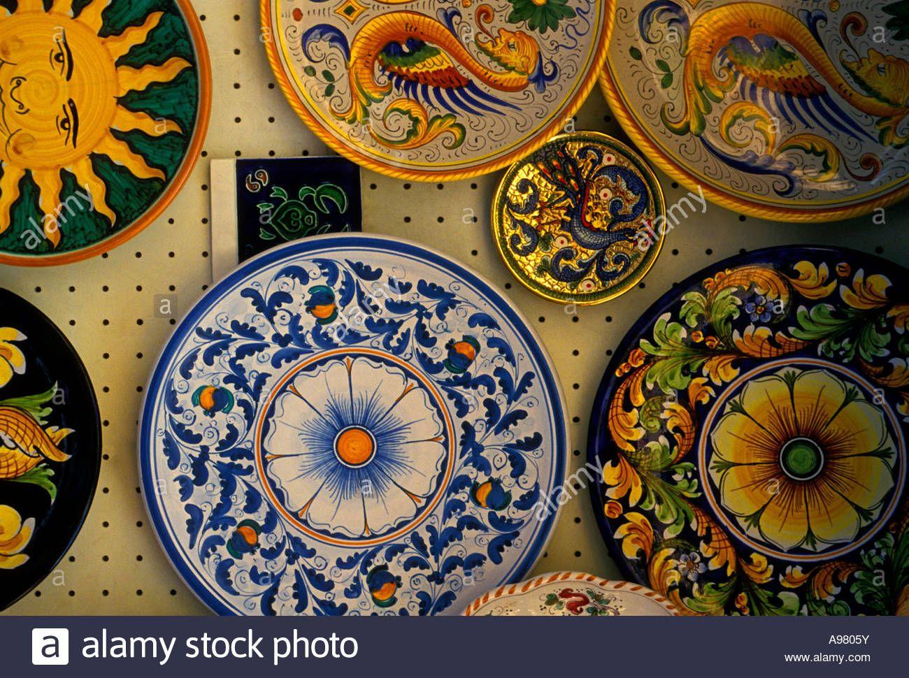 ceramic-plates-taormina-messina-province-sicily-italy-europe- & ceramic-plates-taormina-messina-province-sicily-italy-europe-A9805Y ...