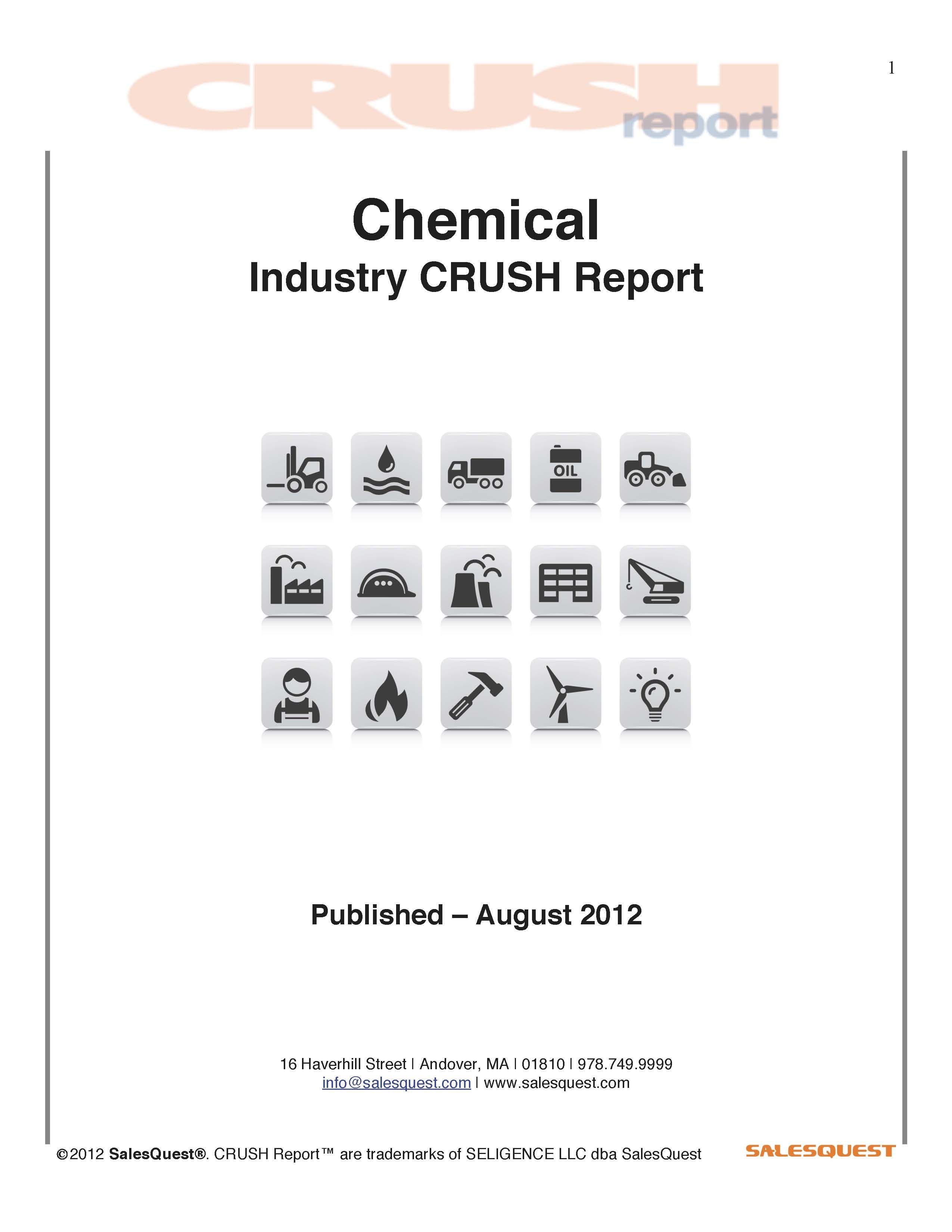 The Chemical Industry uses chemical reactions to turn raw materials into several different products. Examples of products created within the chemical industry include pharmaceuticals for the health care industry and artificial rubber for the auto industry.    http://estore.salesquest.com/CRUSH-reports/Chemicals