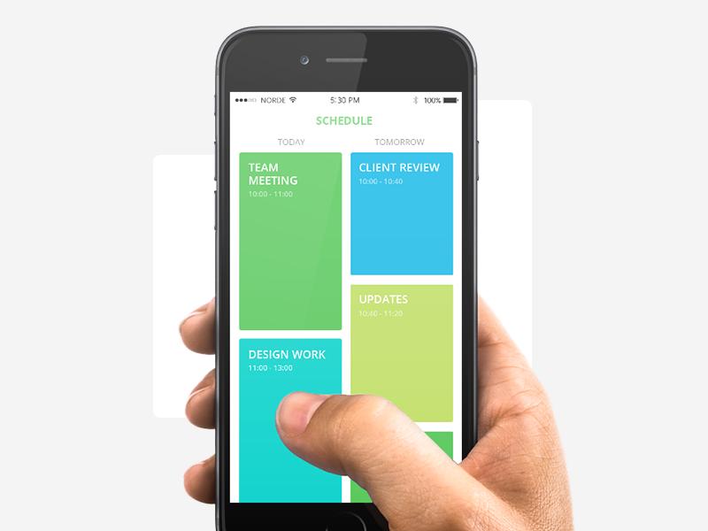 Work Schedule User interface design, Schedule, Mobile