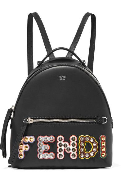 433e73196388 Fendi - Studded Appliquéd Leather Backpack - Black