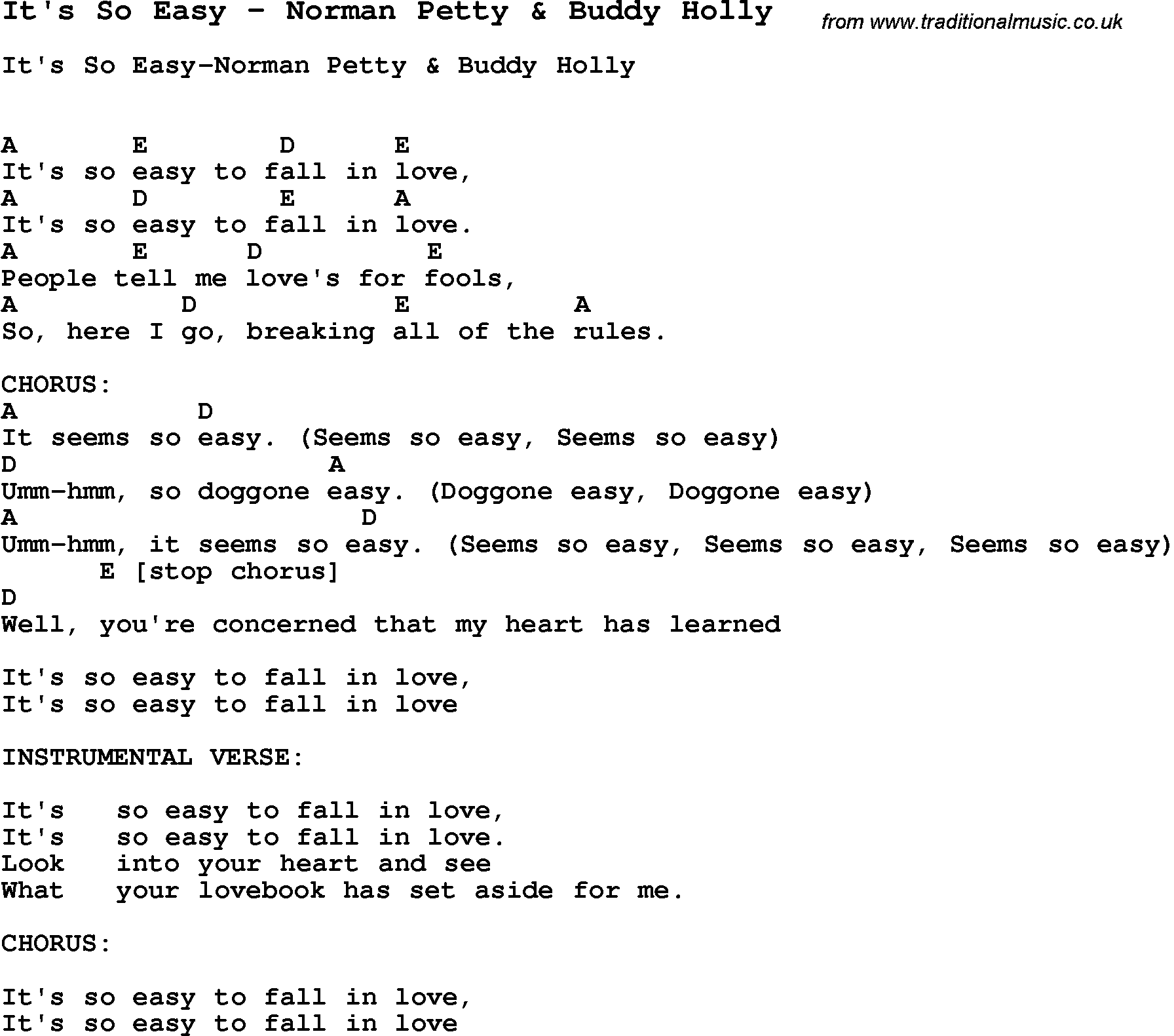 Song Its So Easy By Norman Petty Buddy Holly With Lyrics For