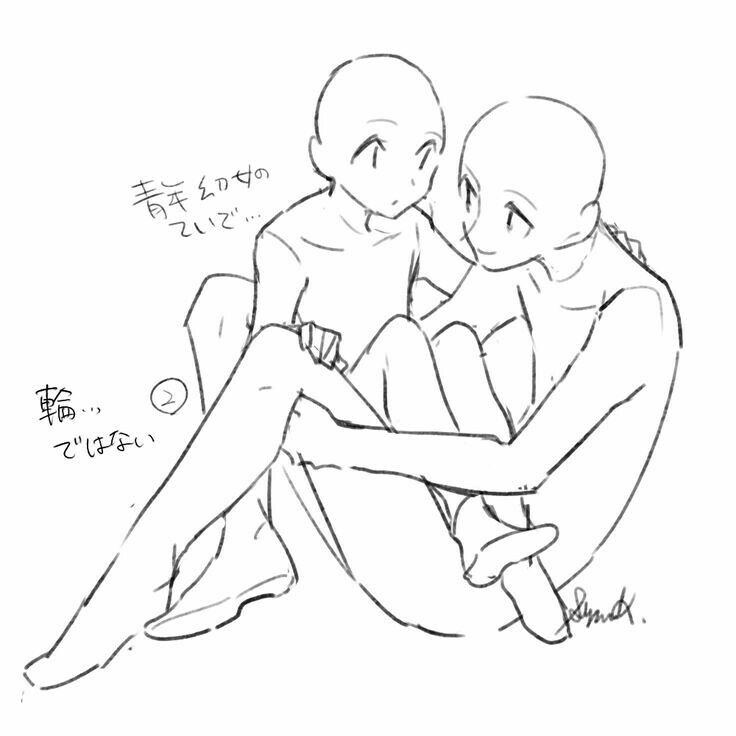 two people sitting one on the other people drawings art