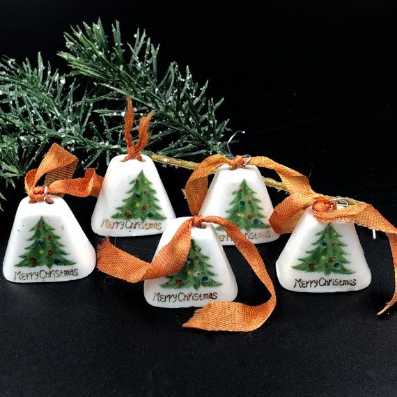 Japanese Christmas Tree Ornaments.Vintage Japan Ceramic Bell Christmas Tree Ornaments Set Of