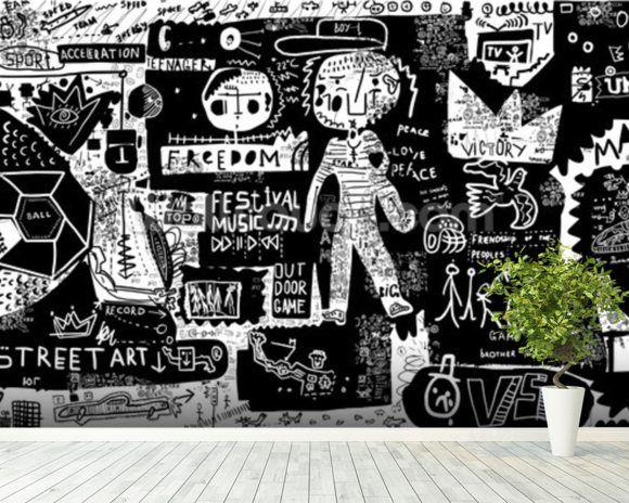 Graffiti Black And White Wallpaper Wallsauce Us Black And White Graffiti Graffiti Wallpaper Mural