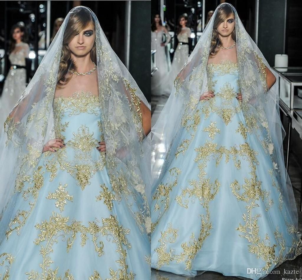 Reem Acra Sparkly Gold Lace Ball Gown Wedding Dresses 2018 Vintage ...