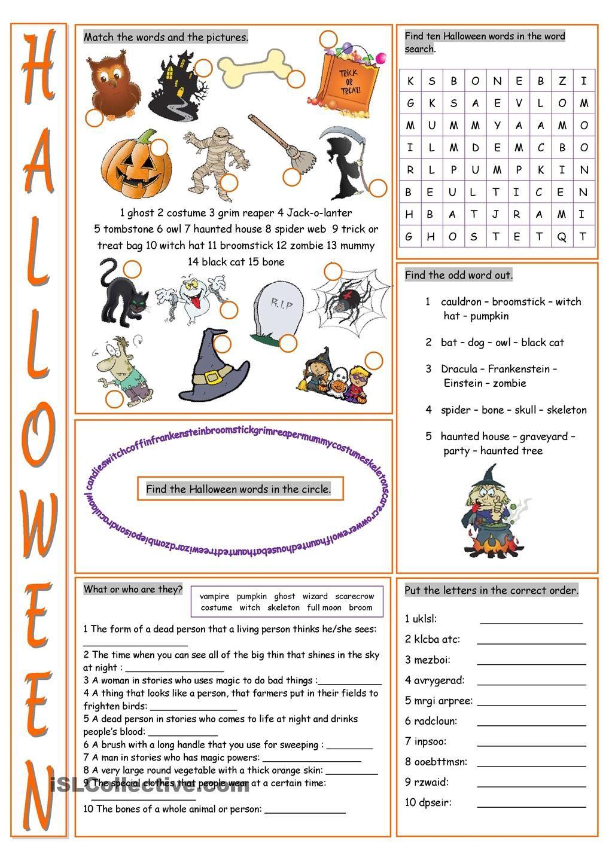 Halloween Vocabulary Exercises | halloween | Pinterest | Englisch ...