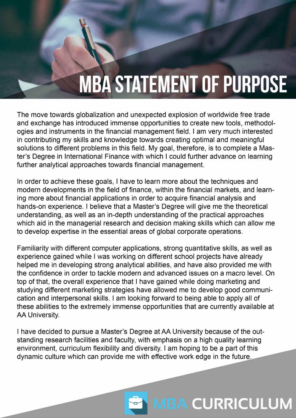 pin by mba document samples on mba statement of purpose sample