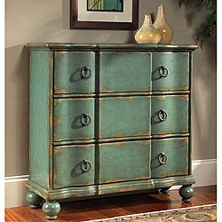 Exceptional Hand Painted Chest Features A Blue/green Distressed FinishLiving Room  Furniture Is Constructed Of Hardwood And MDFAccent Chest Has Antique Brass  Finish ...