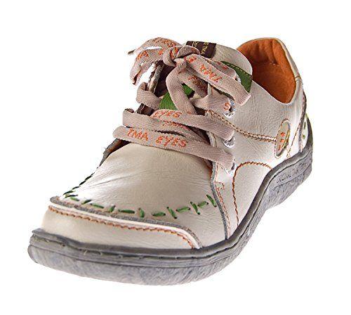 TMA Damen Leder Halb Schuhe Comfort Sneakers Blau Used Look Eyes 1646 Schnürer Turnschuhe Gr. 36