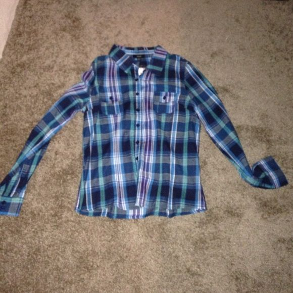 Flannel Button up flannel' Tops Button Down Shirts