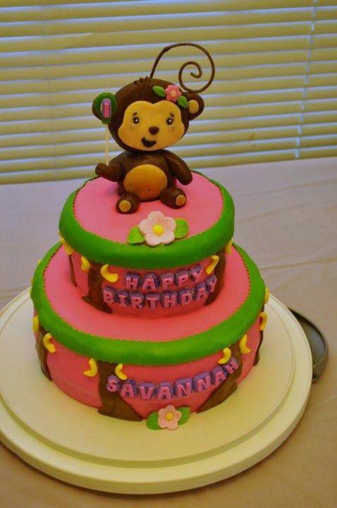 Magnificent Savannahs 1St Birthday Cake Monkey Girl Theme With Images Personalised Birthday Cards Veneteletsinfo