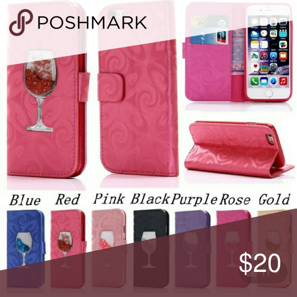 *Luxury Leather Liquid Quick Sand Wine Glass Case* Folds 2 prop phone hold credit cards & phone. Sizes are 4 most iphones. Leave comment if interested with phone size & color & ill get it on the way. Accessories Phone Cases