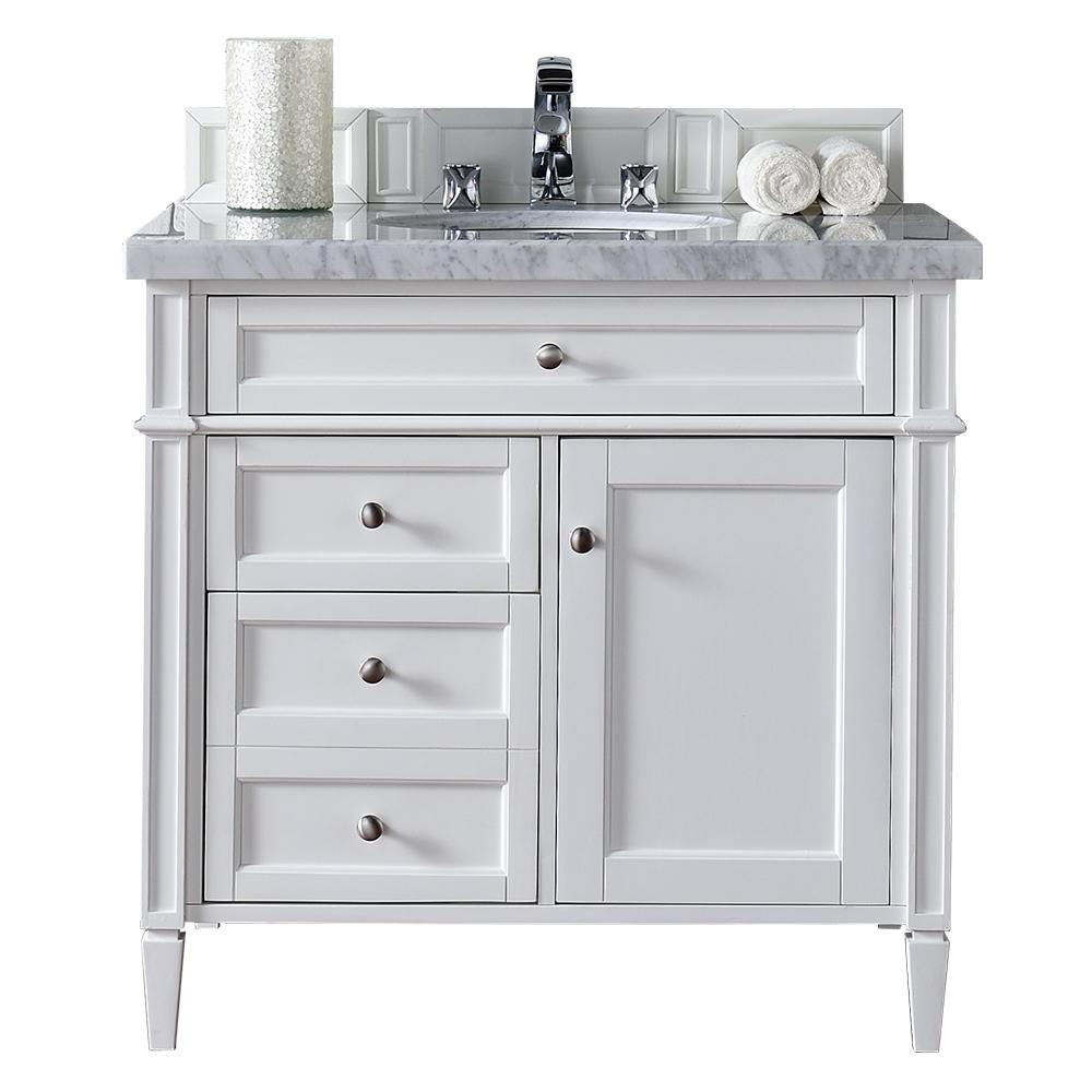 James Martin Signature Vanities Brittany 36 In W Single Vanity In Cottage White With Marb 36 Inch Bathroom Vanity White Vanity Bathroom Single Bathroom Vanity