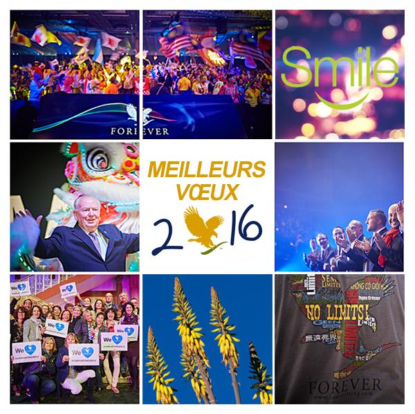 Toute l'équipe Forever France vous souhaite une belle et heureuse année 2016 et surtout la santé ! 2015 aura été merveilleuse avec vous en ligne sur cette page, un grand merci de la faire évoluer chaque jour émoticône heart Nous vous souhaitons des rêves à n'en plus finir, Et l'envie furieuse d'en réaliser quelques uns !