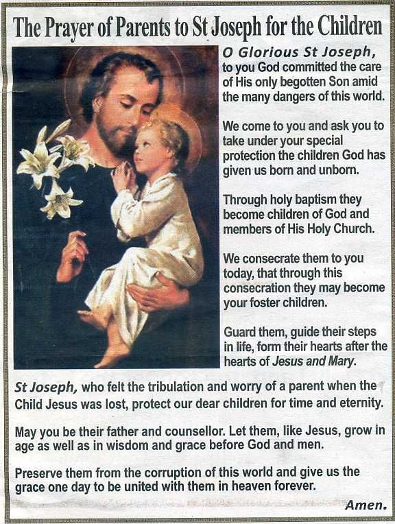 f67634138 A PARENT'S PRAYER TO ST JOSEPH #pinterest O glorious St. Joseph, to you God  committed the care of His only begotten Son amid the many dangers of this  world.