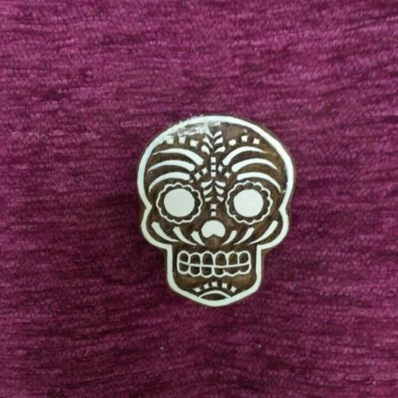 Indian wooden hand carved wood block stamp pottery stamps textile stamps fabric stamps, tjaps - sugar skull #fabricstamping