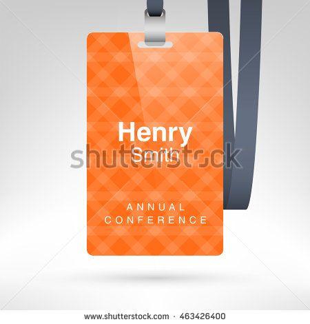Orange Conference Badge With Name Tag Placeholder Blank Template In Plastic Holder Black Lanyard Vector Illustration Vertical