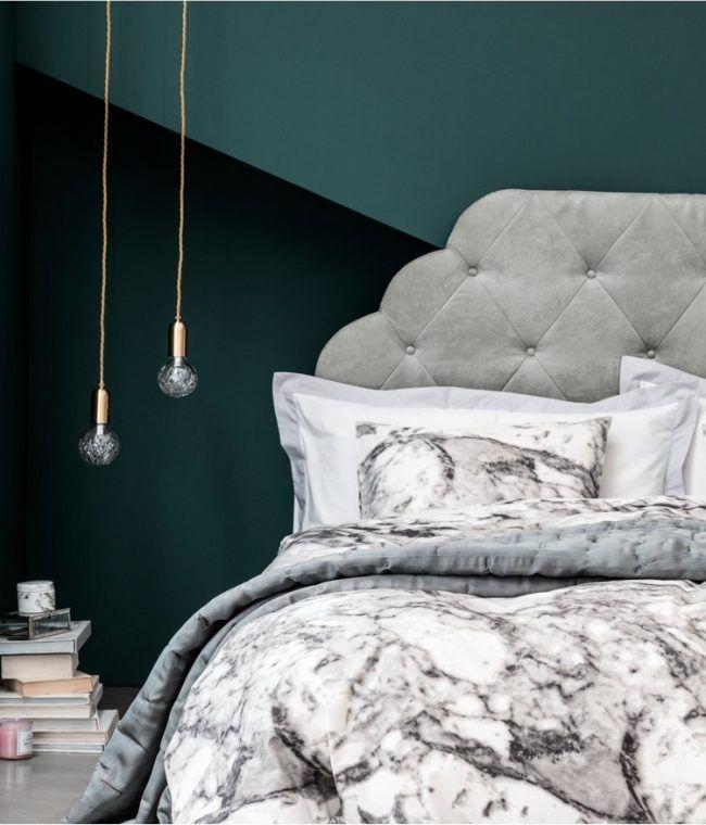wand-streichen-muster-ideen-schlafzimmer-gruentoene-abstrakt - streichen schlafzimmer