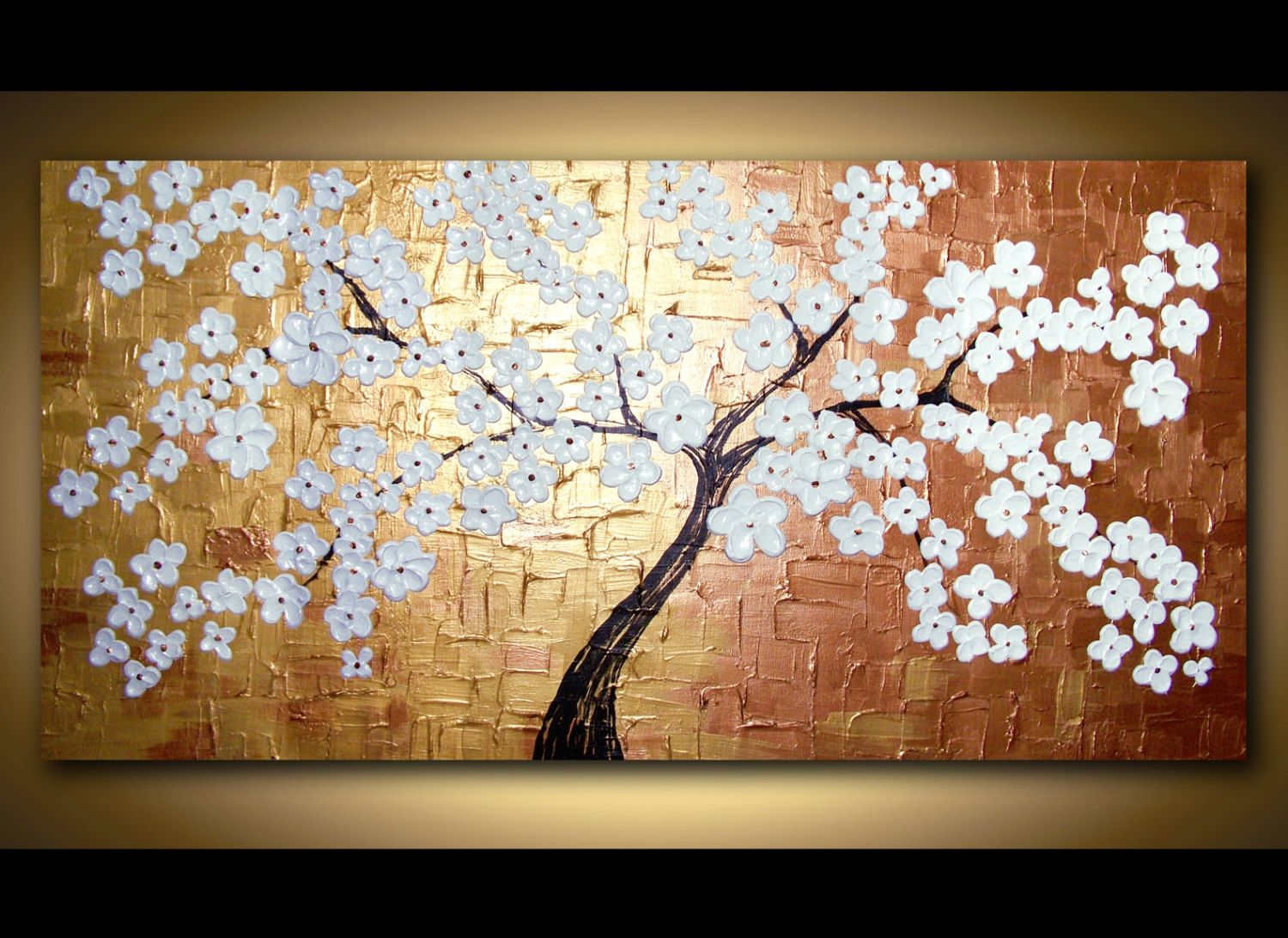 Canvas wall art modern art large blooming tree painting textured