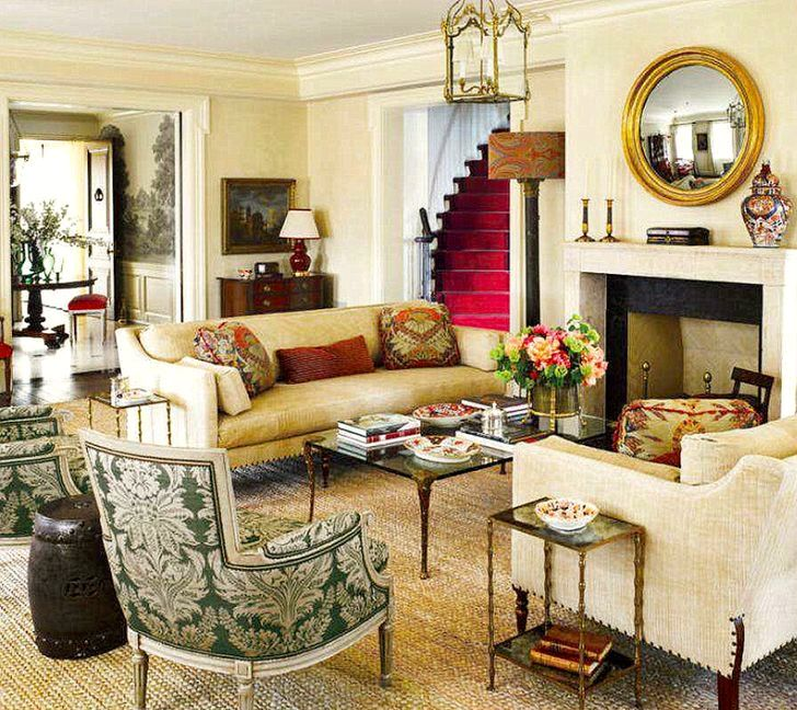 Super Fancy Damasks And A Rich Color Palette Grounded By Simple Sisal Carpet In This Lovely Living Room With View Through To The Foyer Stairs