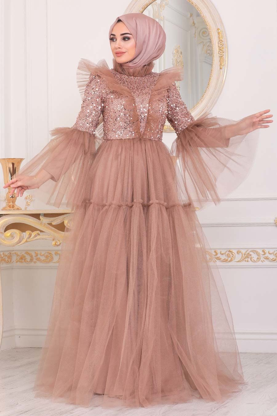 Tesetturlu Abiye Elbise Pullu Koyu Gold Tesettur Abiye Elbise 40591kgold Tesetturisland Com 2020 Elbise Moda Stilleri Elbiseler