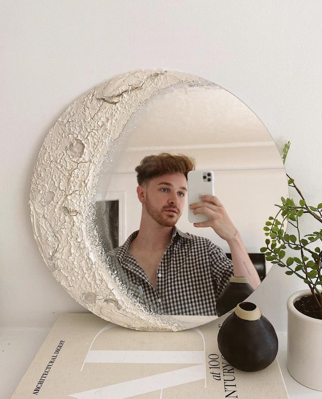 Diy Moon Mirror Tiktok Mirror Wall Decor Ideas Diy Home Decor In 2020 Mirror Wall Decor Diy Wall Art Decor Moon Mirror