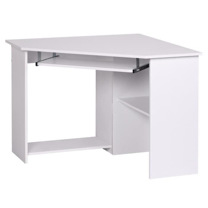 Bureau d 39 angle meuble informatique avec tablette pour clavier blanc bureau d 39 ordinateur - Meuble d angle pour ordinateur ...