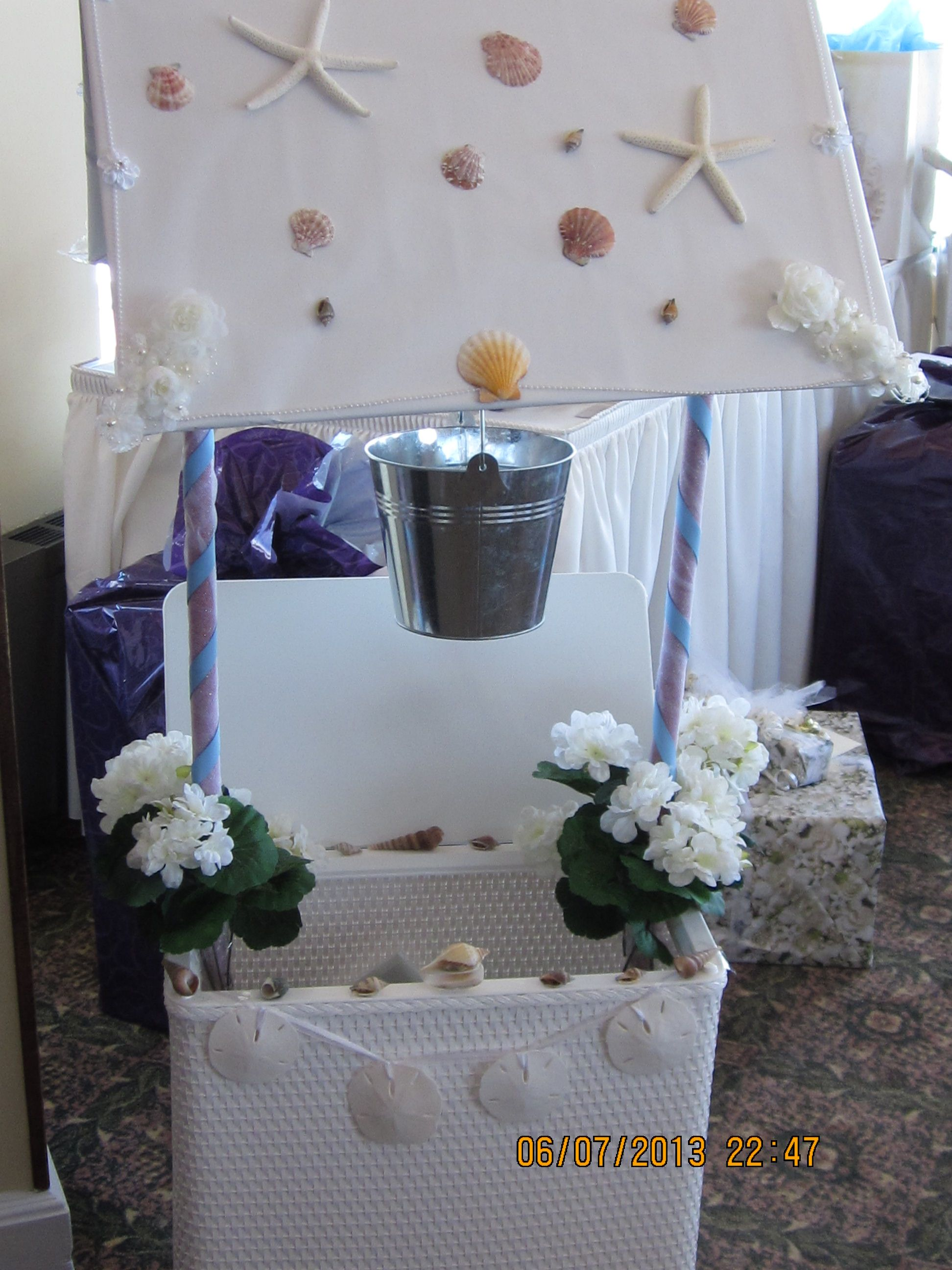 Beach themed Wishing Well my DIL Nicole made and I helped