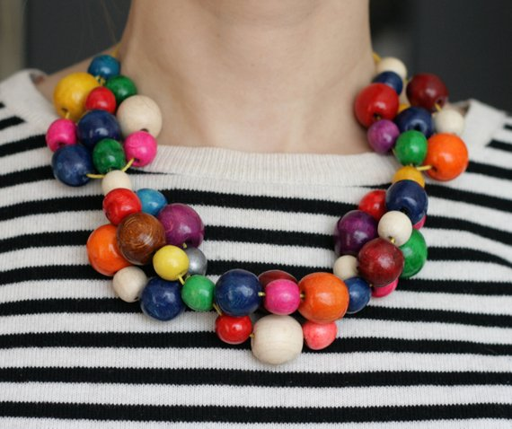 Big Chunky Gold Plated Chain Colorful Bead Ball Pendant Women Statement Necklace