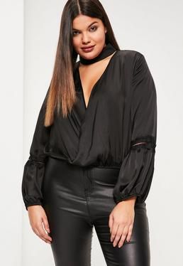 ae7965991c1e2 Plus Size Exclusive Black Satin Choker Neck Lace Insert Blouse ...