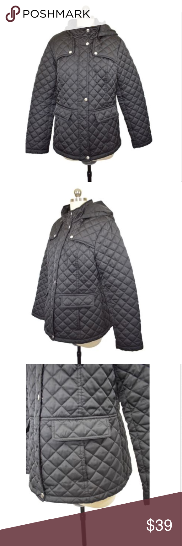 Laundry By Design Nordstrom Black Quilted Coat L Fashion
