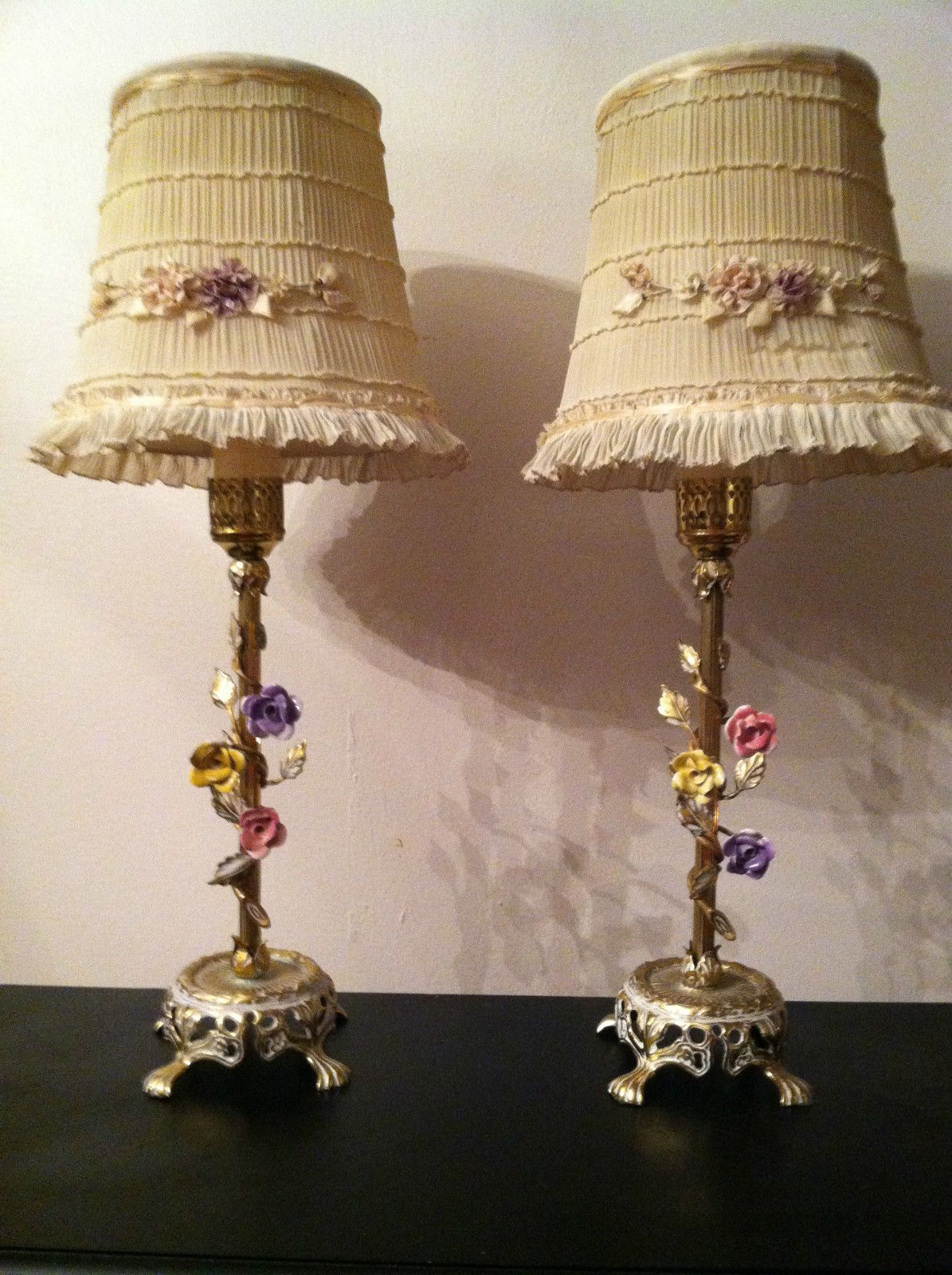 Set Of 2 Vintage 1920s French Boudoir Porcelain Flower Roses