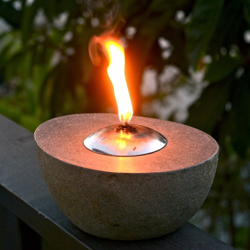Handmade Natural River Stone Carved Oil Lamp (Indonesia)