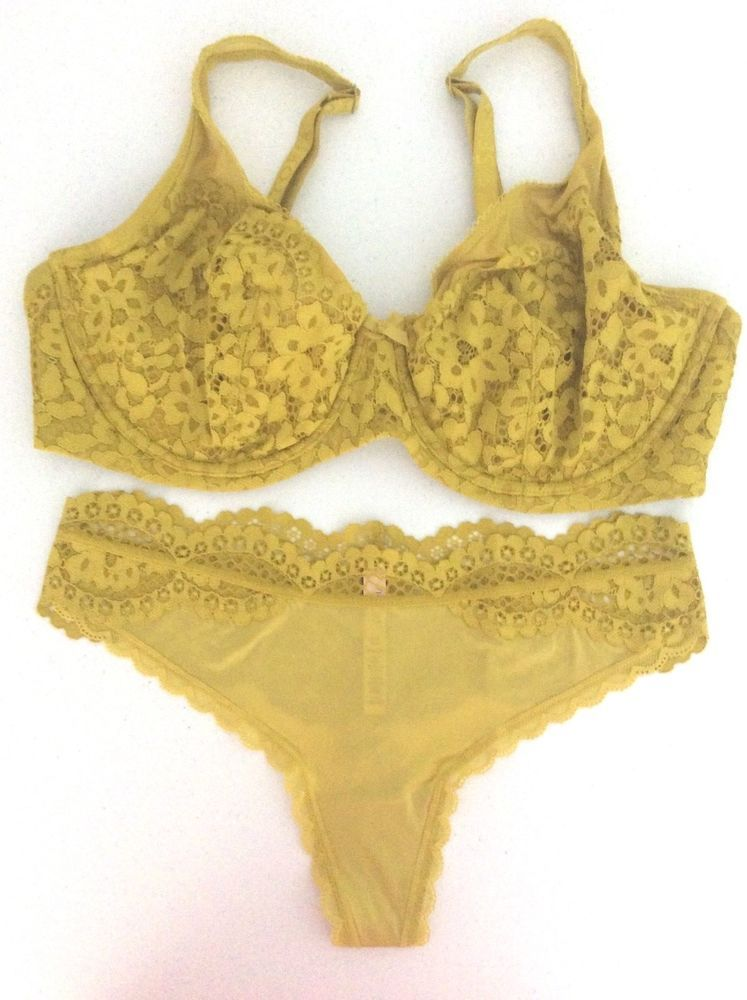 19fae6dbd6 Victoria Secret Body By Unlined Gold Deep Yellow Lace Demi Bra Panty Set  38DD L  VictoriasSecret  Demis