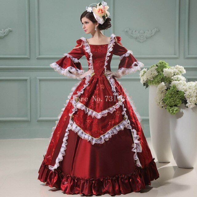 17th 18th Century Rococo Princess Gowns Marie Antoinette Masquerade Gown Southern Belle Floral Dr Lace Dress Vintage Victorian Dress Costume Vintage Ball Gowns