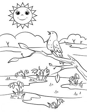 Ausmalbild Frühling - Frühlingstag zum Ausdrucken und ...