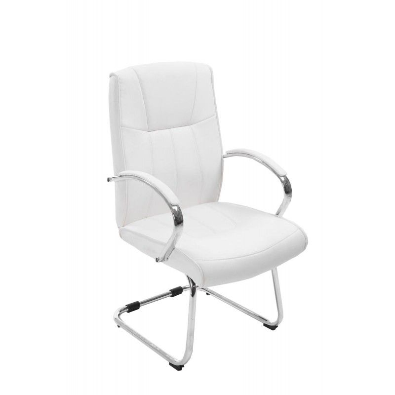 Chaise De Bureau Sans Roulettes Fauteuil Chaise De Bureau Sans Roulette En Simili Cuir Blanc Furniture Office Chair Office Furniture