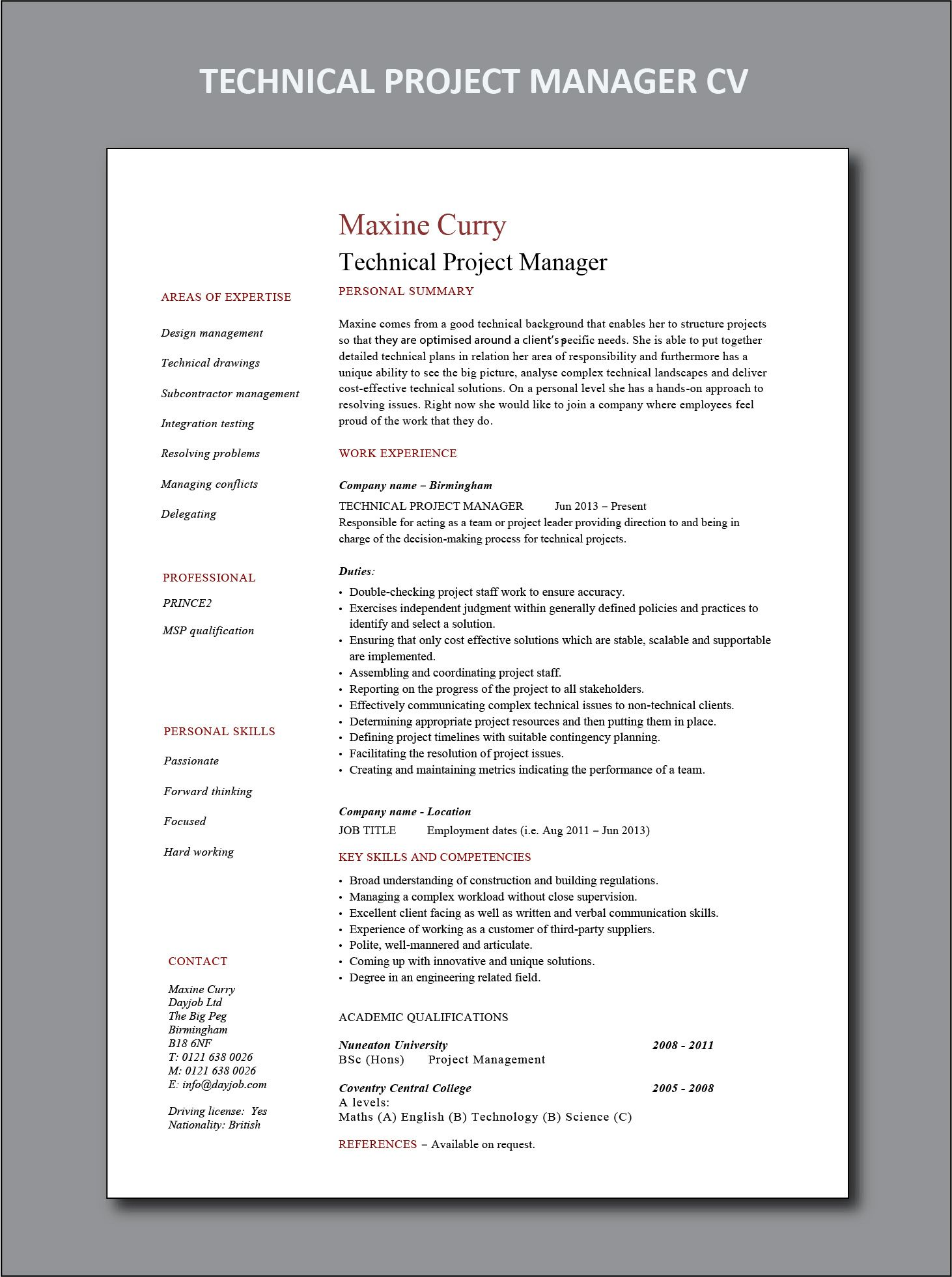 TECHNICAL PROJECT MANAGER CV AND RESUME EXAMPLE | Project ...