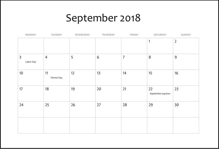 Editable September 2018 Holidays Calendar | Calendar 2018