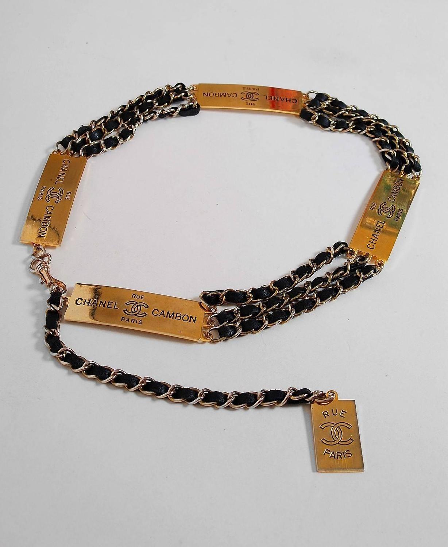 8c4a2082f58f7c 1995 Chanel Rue Cambon Paris Rare Black Leather & Gold-Tone Chain Link Belt