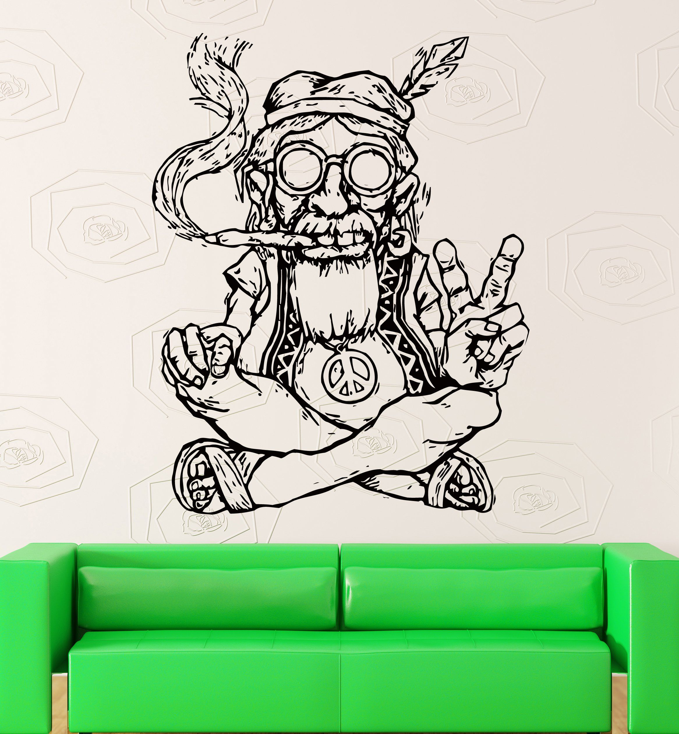 Crystal Emotion Wall Stickers Vinyl Decal Weed Marijuana Old Hippie Smoking  Weed Marijuana Funny Decor For Living Room Best Decoration For Room