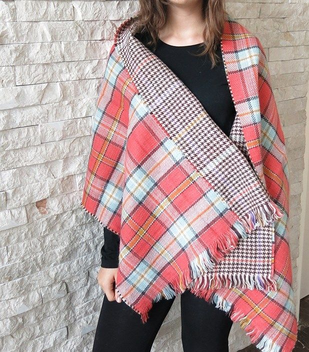 EXTRA LARGE DOUBLE SIDED PLAID SCARF | Jane